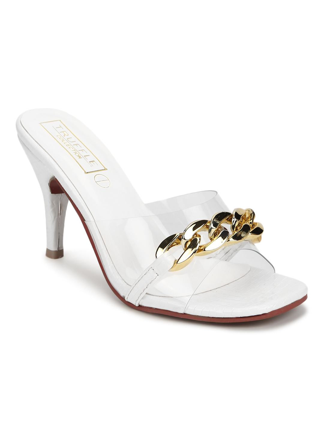 Truffle Collection | Truffle Collection White Patent Snake Gold Chained Stiletto Mules