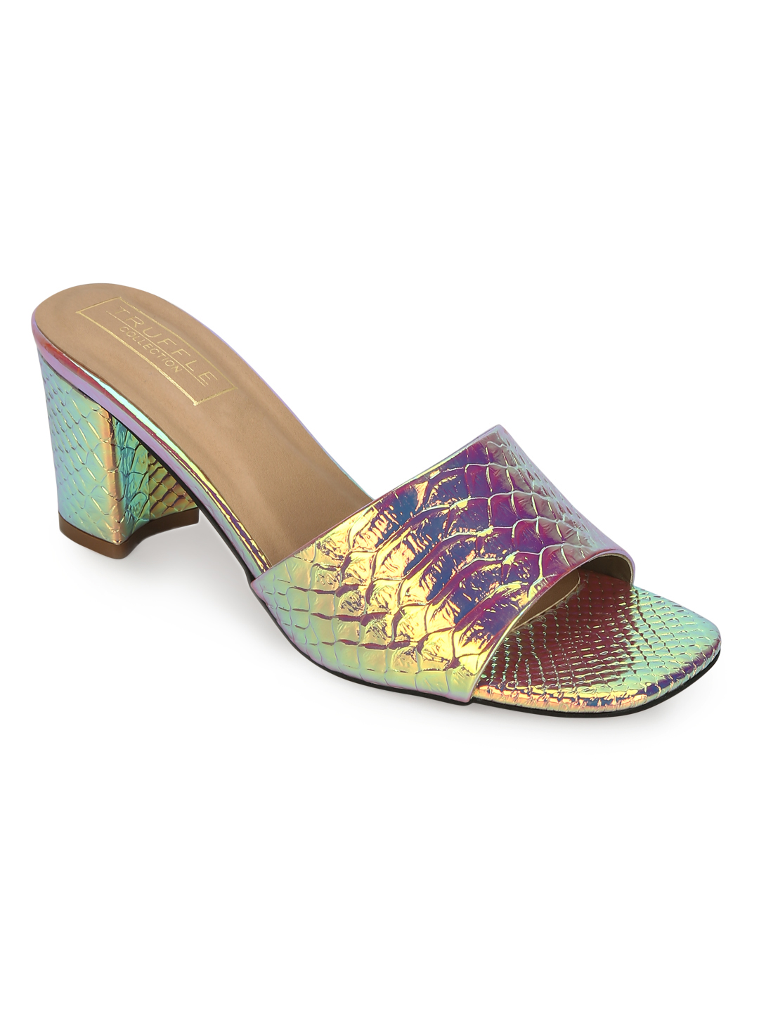 Truffle Collection | Gold PU Holographic Snake Pattern Sandals
