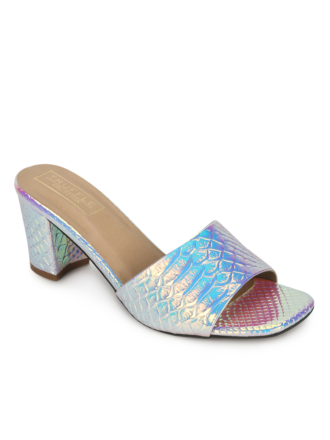 Truffle Collection   Silver PU Holographic Snake Pattern Sandals