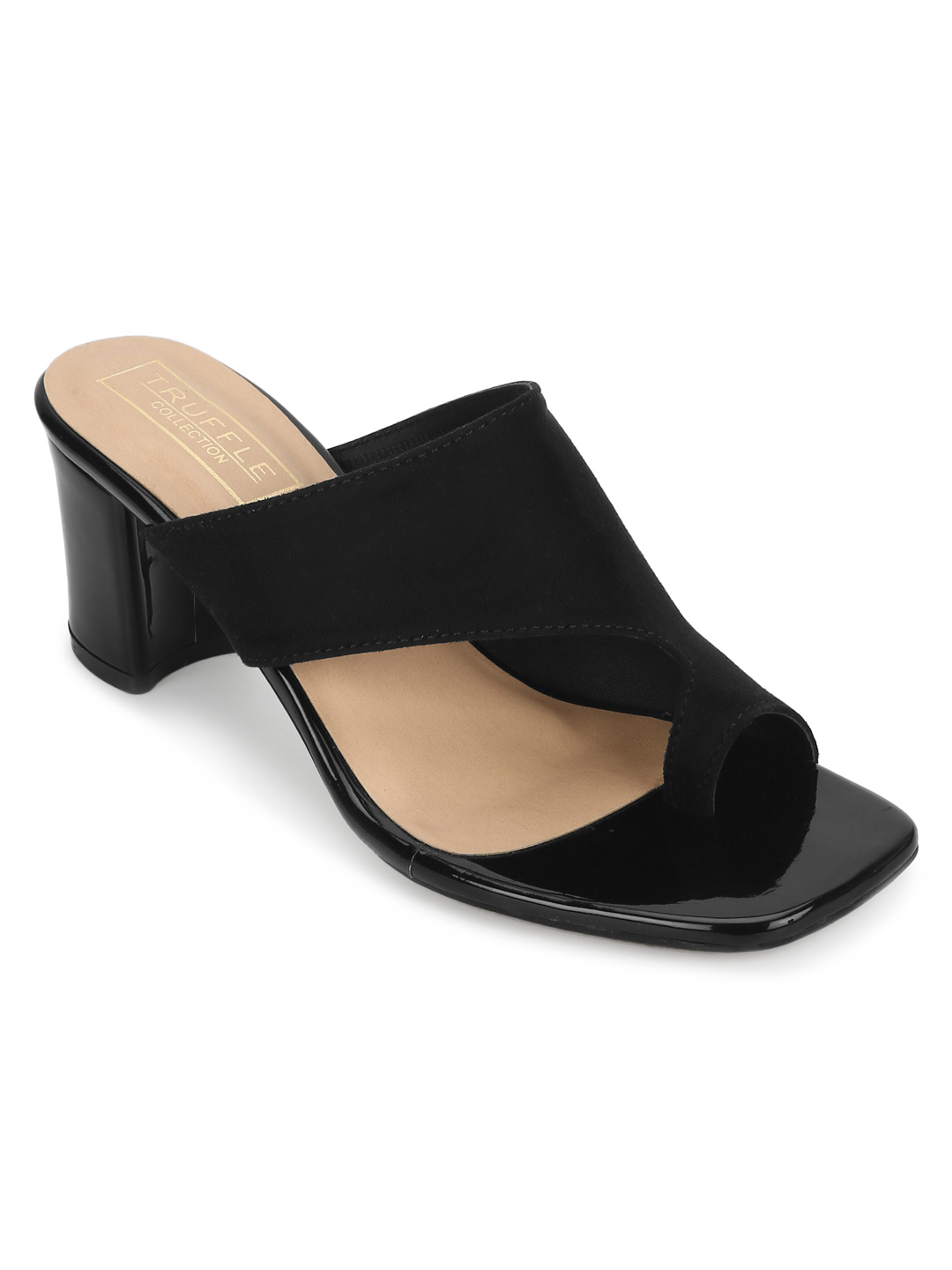 Truffle Collection | Black Suede Square Toe Sandals