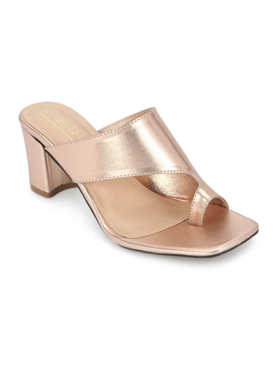 Truffle Collection | Rose Gold PU Square Toe Sandals