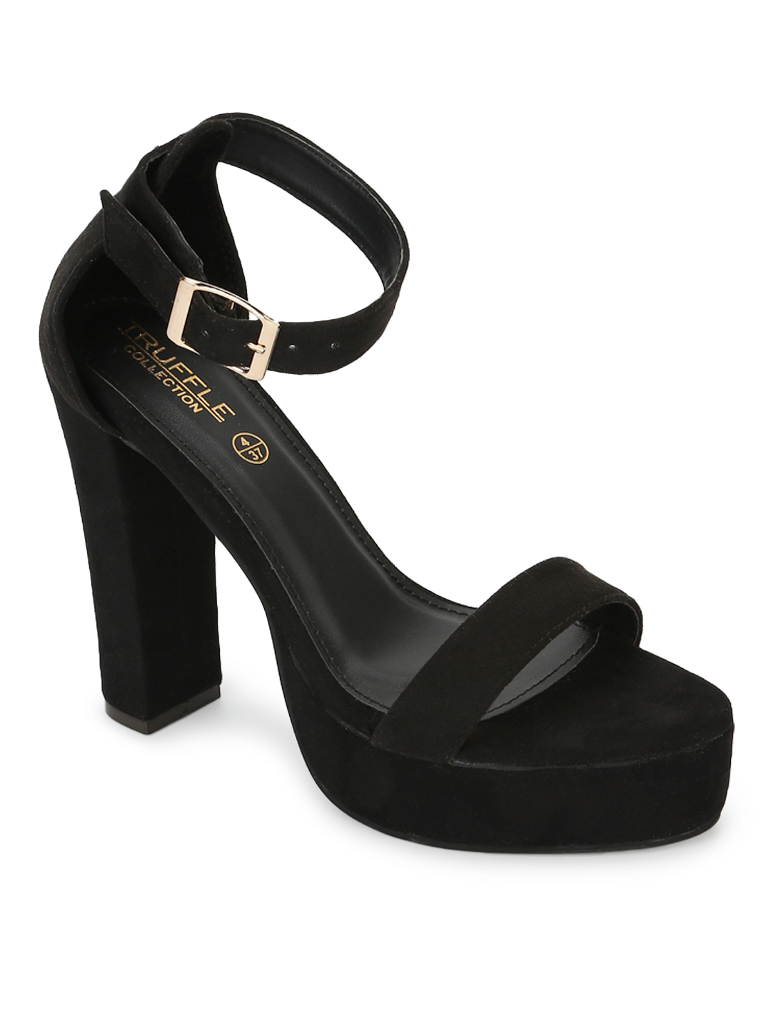 Truffle Collection   Truffle Collection Black Micro High Platform Heels