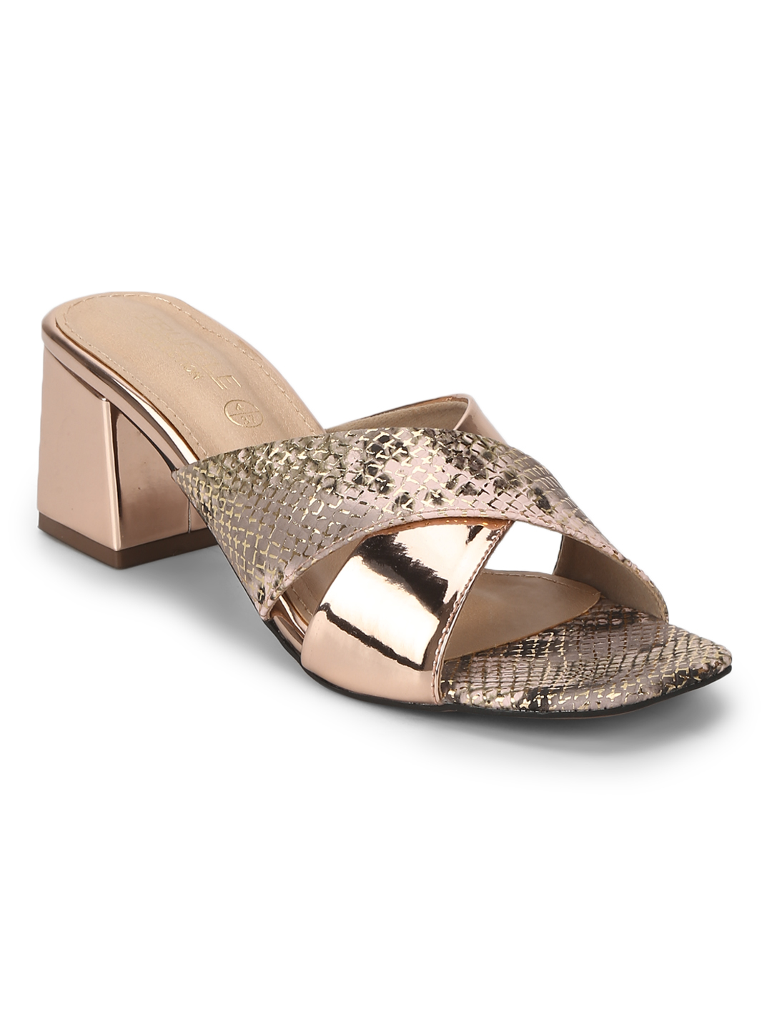 Truffle Collection | Rose Gold PU Snake Pattern Crossover Sandals