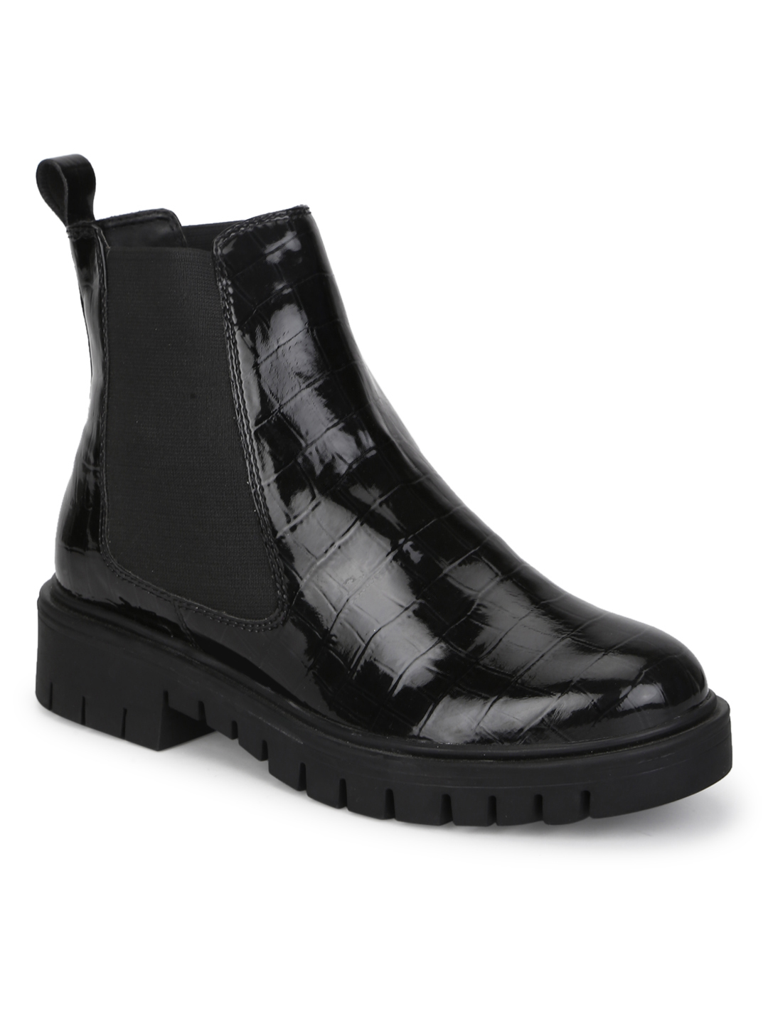 Truffle Collection | Truffle Collection Black Croc Patent Chelsea Ankle Boots