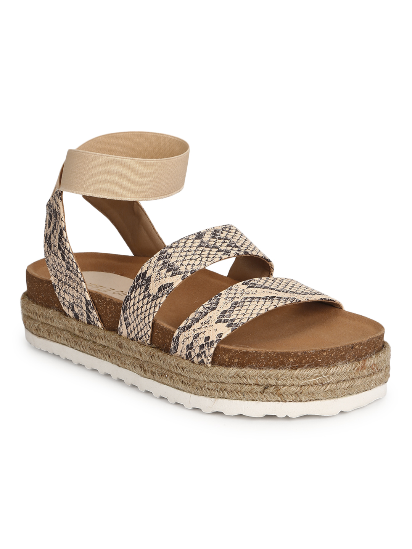 Truffle Collection | Truffle Collection Snake PU Platform Heel Espadrilles Sandals