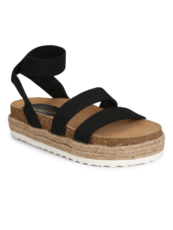 Truffle Collection | Truffle Collection Black PU Platform Heel Espadrilles Sandals