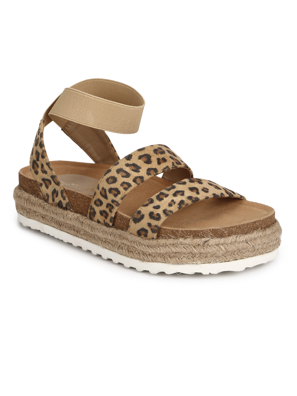 Truffle Collection | Truffle Collection Leopard PU Platform Heel Espadrilles Sandals