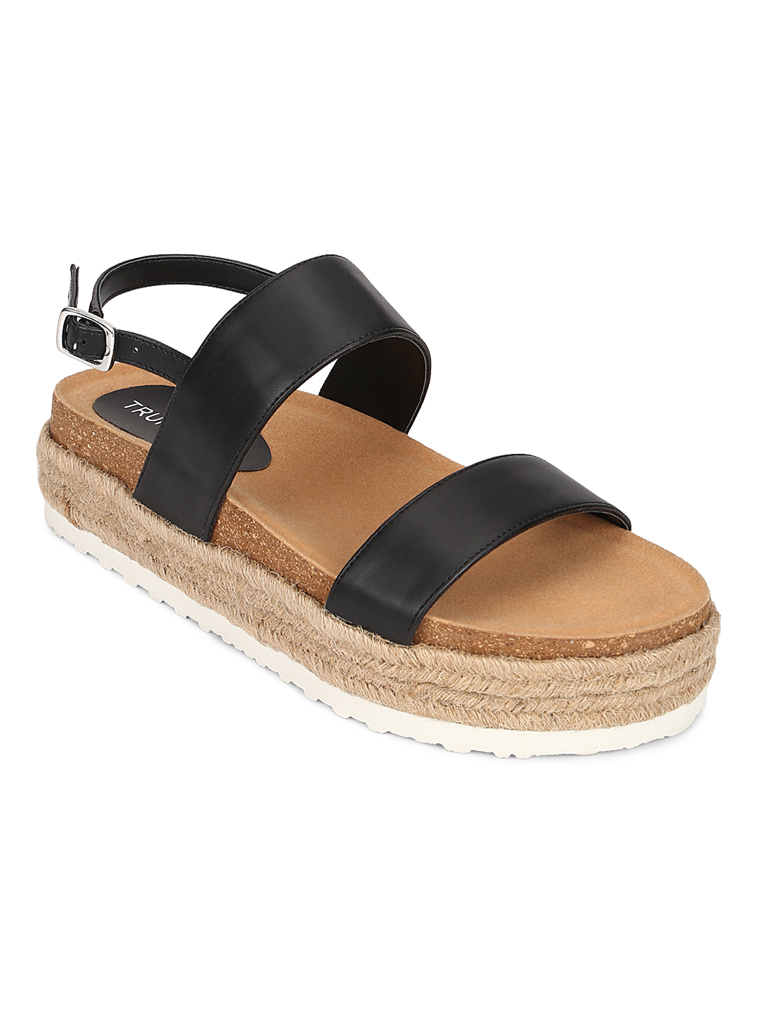 Truffle Collection   Truffle Collection Black PU Platform Wedges With Back Strap Espadrilles Sandals