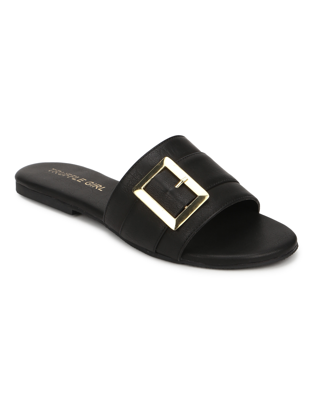 Truffle Collection | Truffle Collection Black PU Slide Buckle Slip Ons