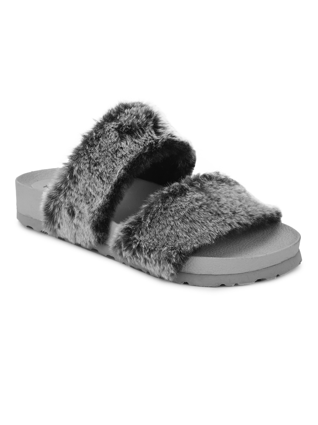 Truffle Collection | Grey Faux Fur Slip Ons