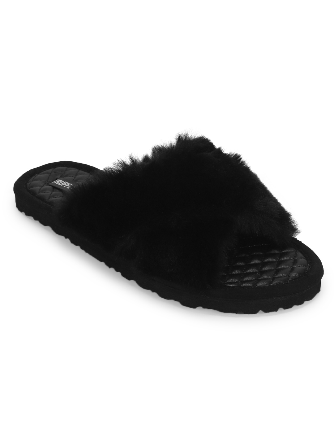 Truffle Collection | Black Fuzzy Fur Slippers