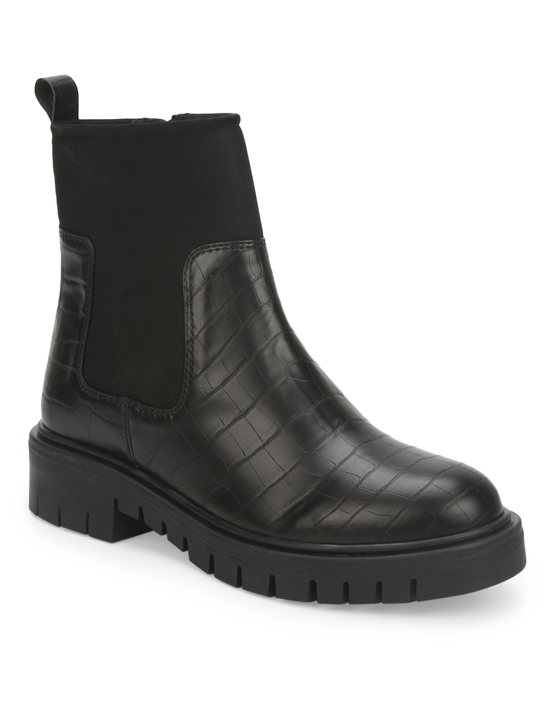 Truffle Collection | Black Croc PU Cleated Bottom Ankle Boots