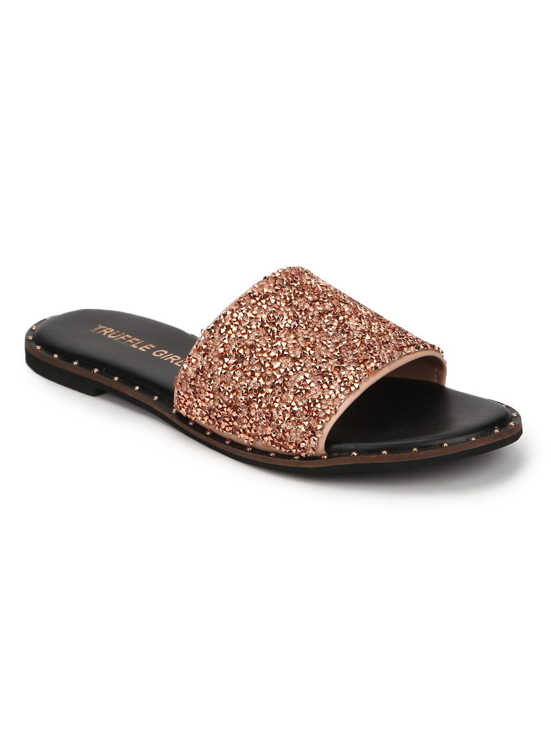 Truffle Collection | Truffle Collection Rose Gold PU Shimmer Slip Ons