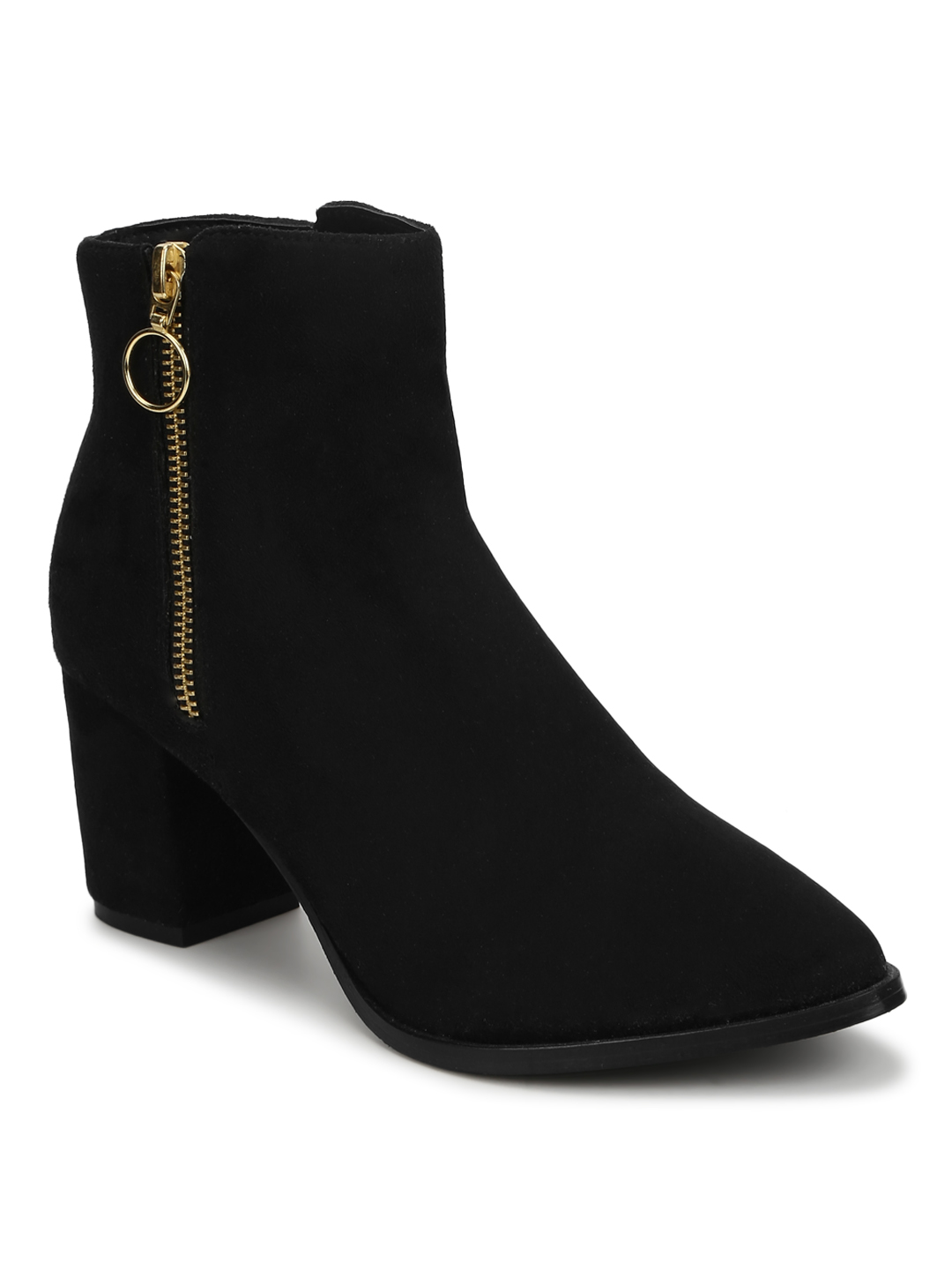 Truffle Collection | Truffle Collection Black Suede Zip Up Ankle Boots