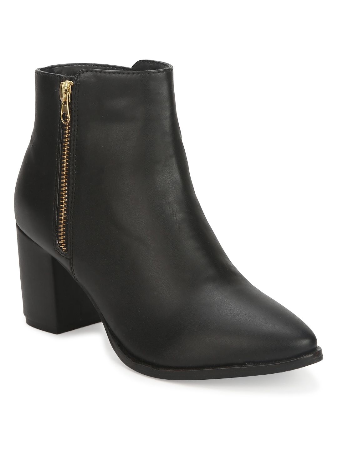 Truffle Collection | Black PU Side Zipper Ankle Boots
