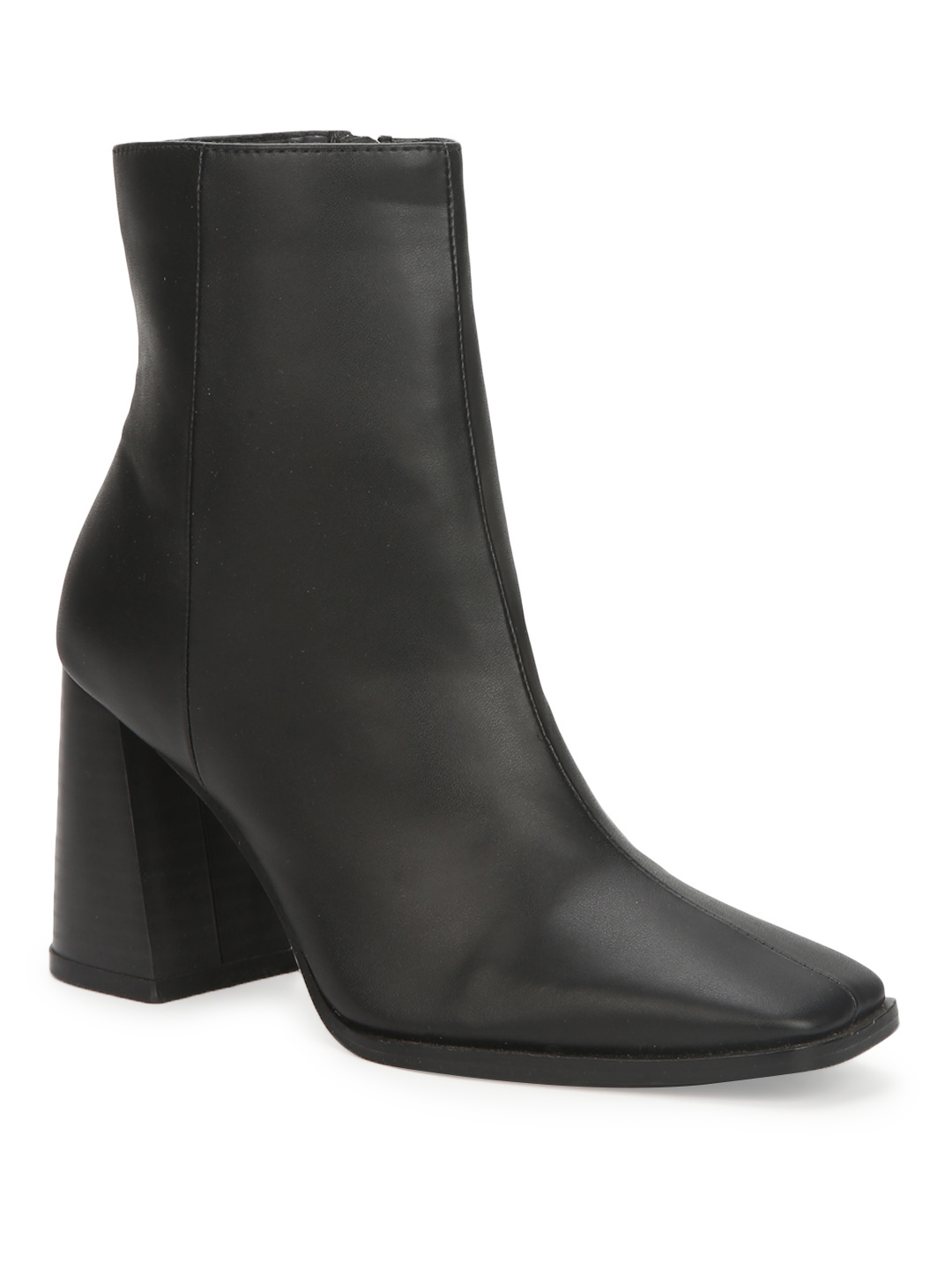 Truffle Collection | Black PU Side Zip Block Ankle Boots
