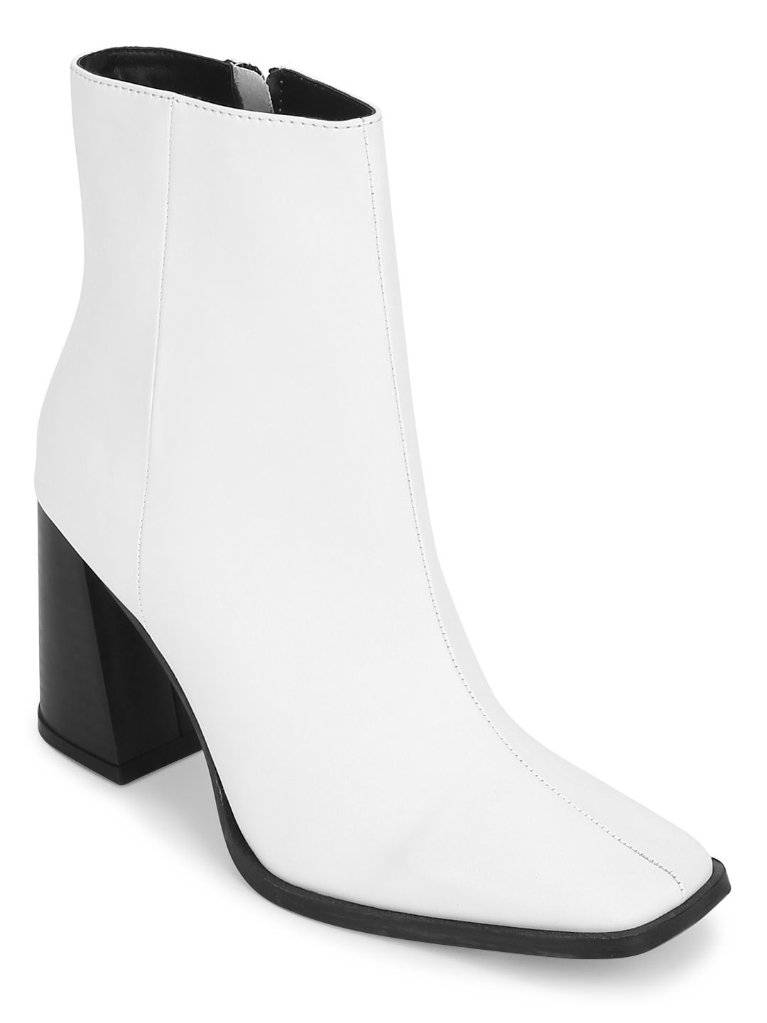 Truffle Collection | White PU Zip Up Square Toe Ankle Boots