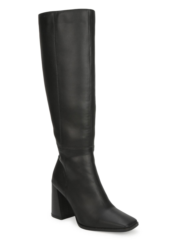 Truffle Collection   Black PU Thigh High Block Heel Boots