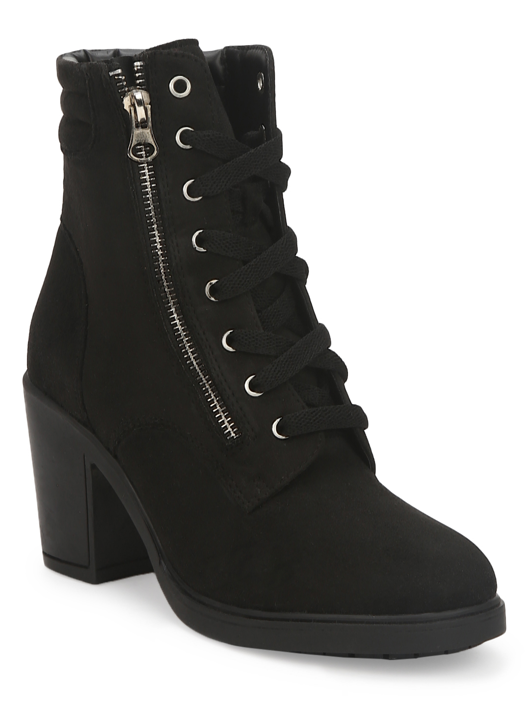 Truffle Collection | Black Suede Lace Up Block Heel Ankle Boots