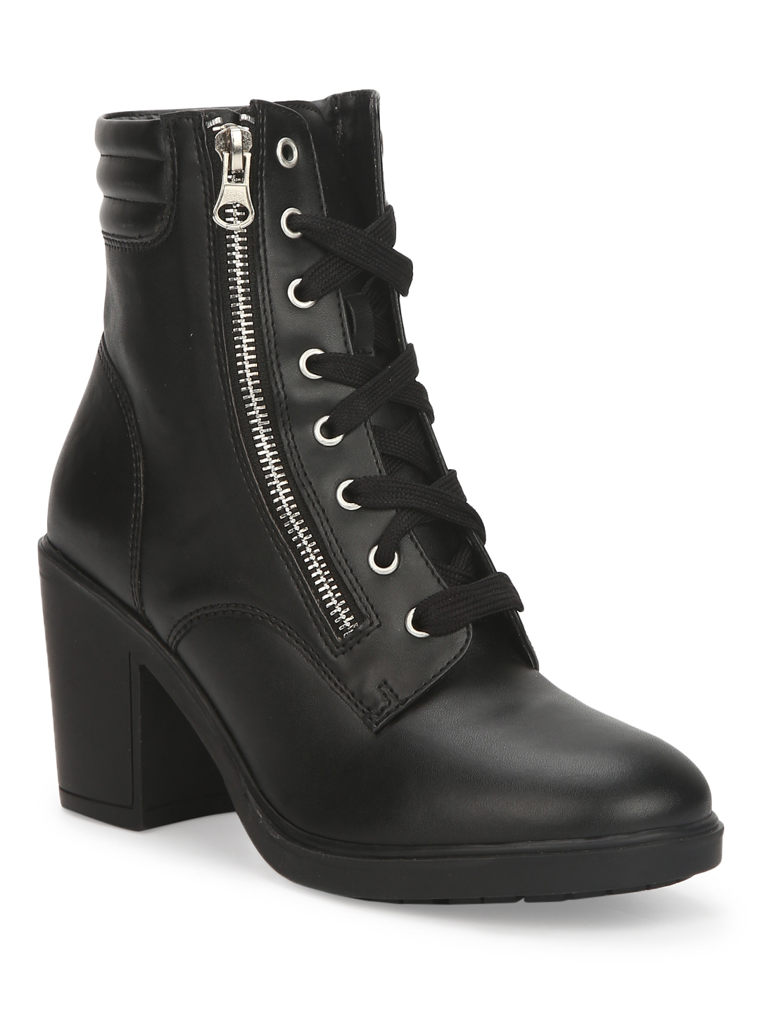 Truffle Collection | Black PU Lace Up Block Heel Ankle Boots
