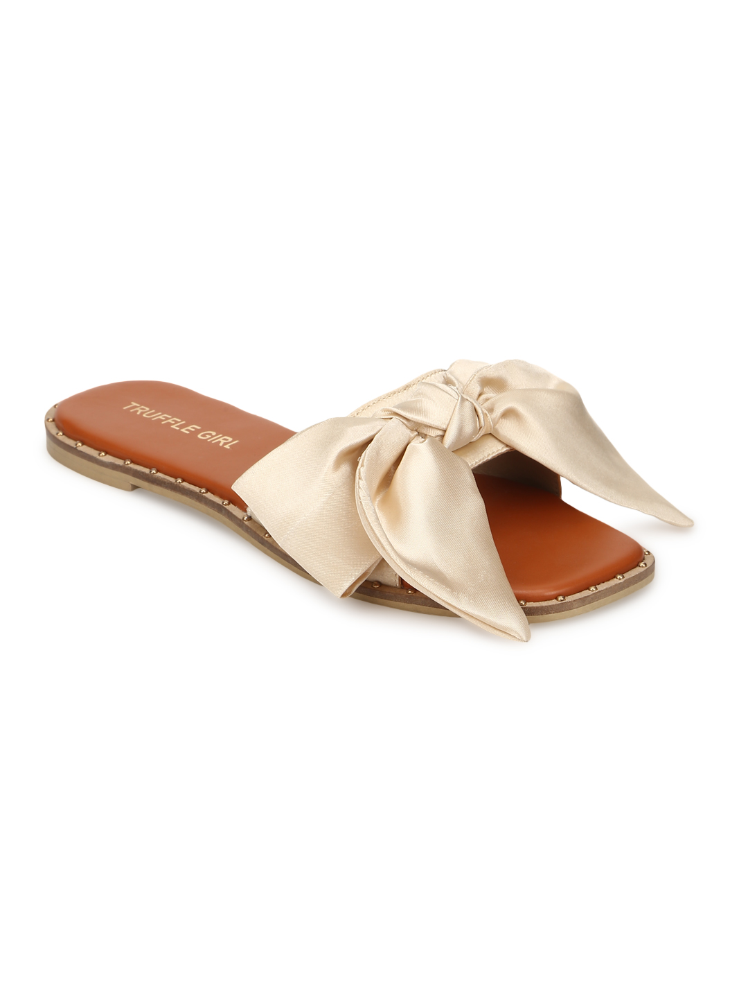 Truffle Collection | Truffle Collection Nude Satin Strap Slip Ons