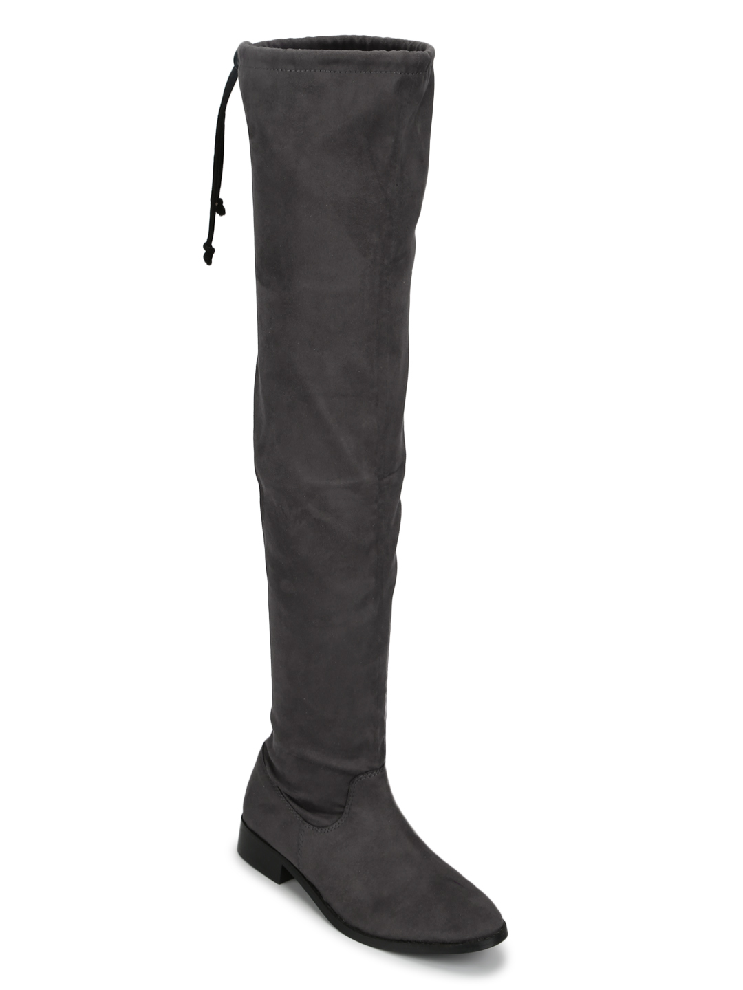 Truffle Collection | Truffle Collection Charcoal Suede Thigh High Boots