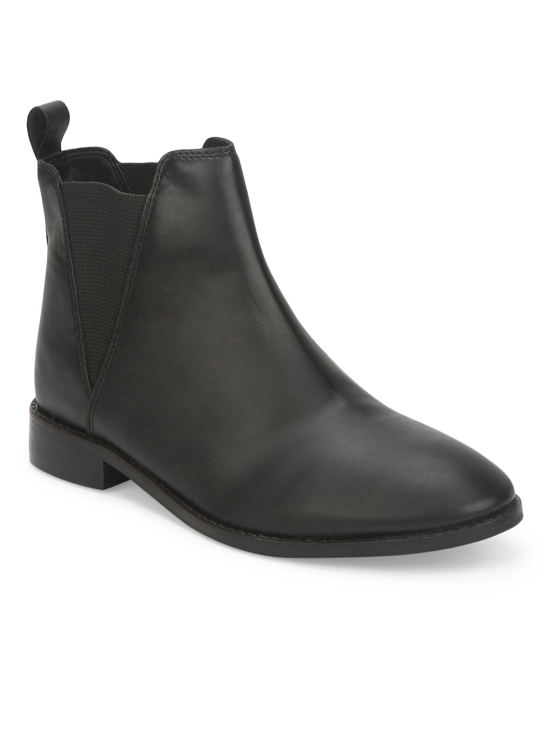 Truffle Collection | Black PU Slip On Low Ankle Boots