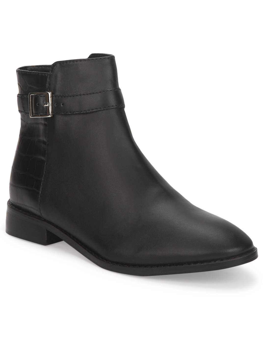Truffle Collection | Black PU Side Buckle Low Ankle Boots