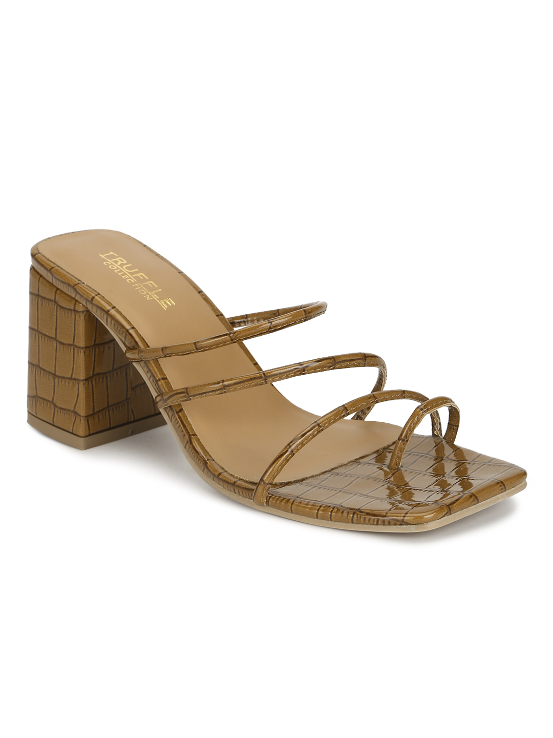 Truffle Collection | Brown Patent Snake Pattern Sandals