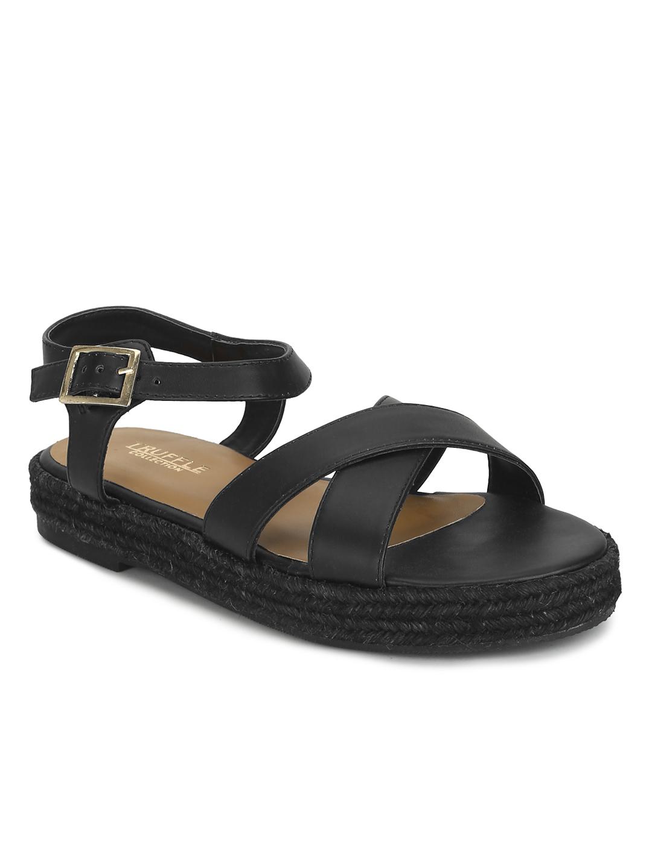 Truffle Collection | Black PU Criss Cross Straps Jute Sandals