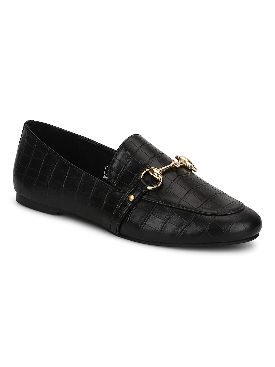 Truffle Collection   Truffle Collection Black Croc PU Loafer Shoes With Gold Chain