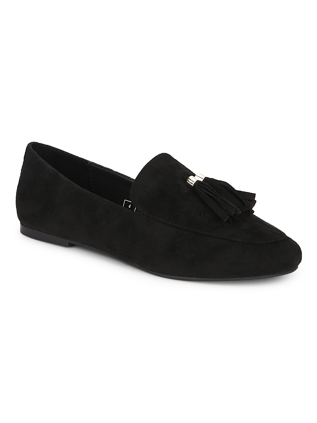 Truffle Collection   Truffle Collection Black Micro Loafer Shoes With Tassle