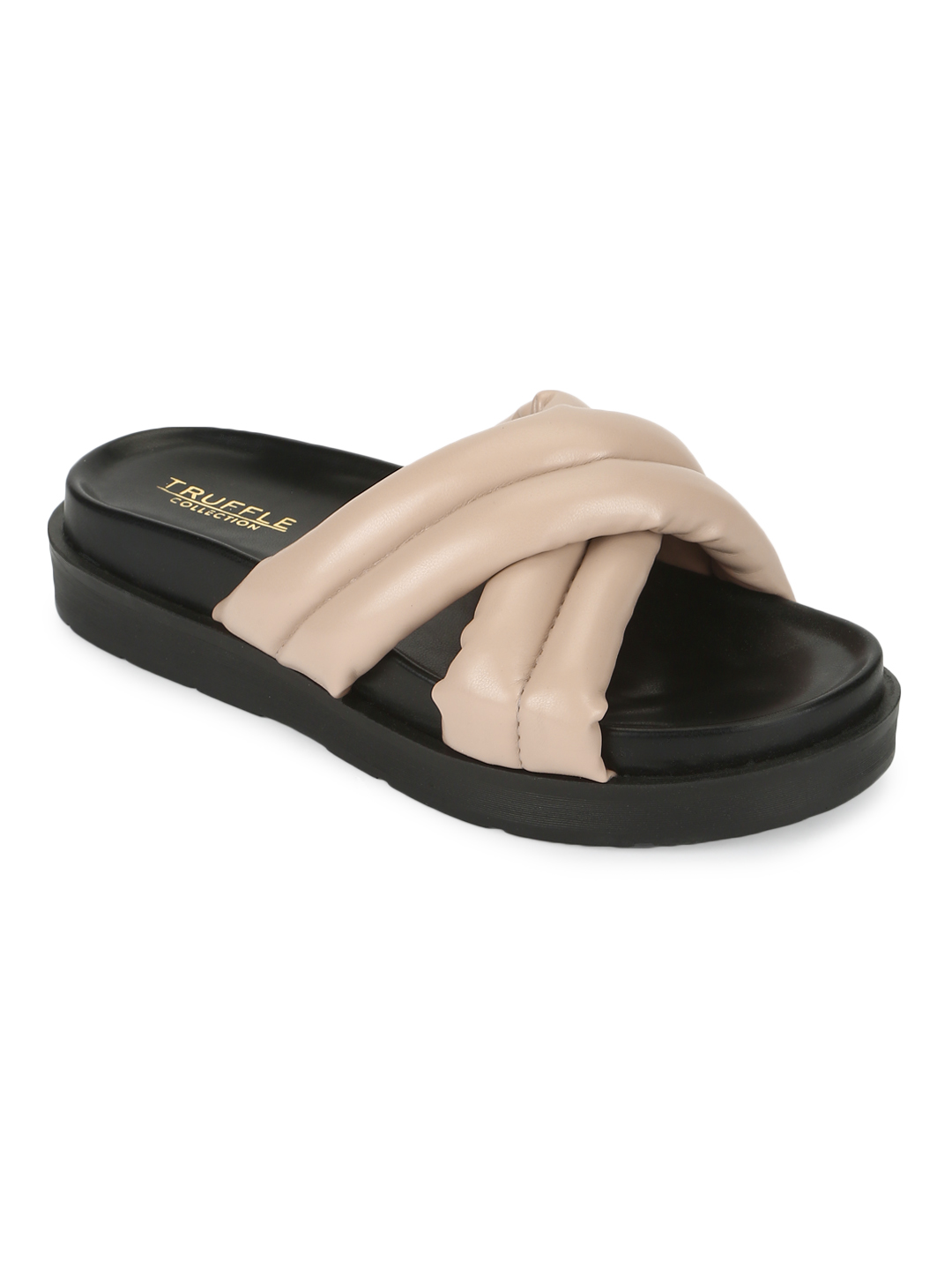 Truffle Collection | Truffle Collection Nude PU Crisscross Quilted Slides
