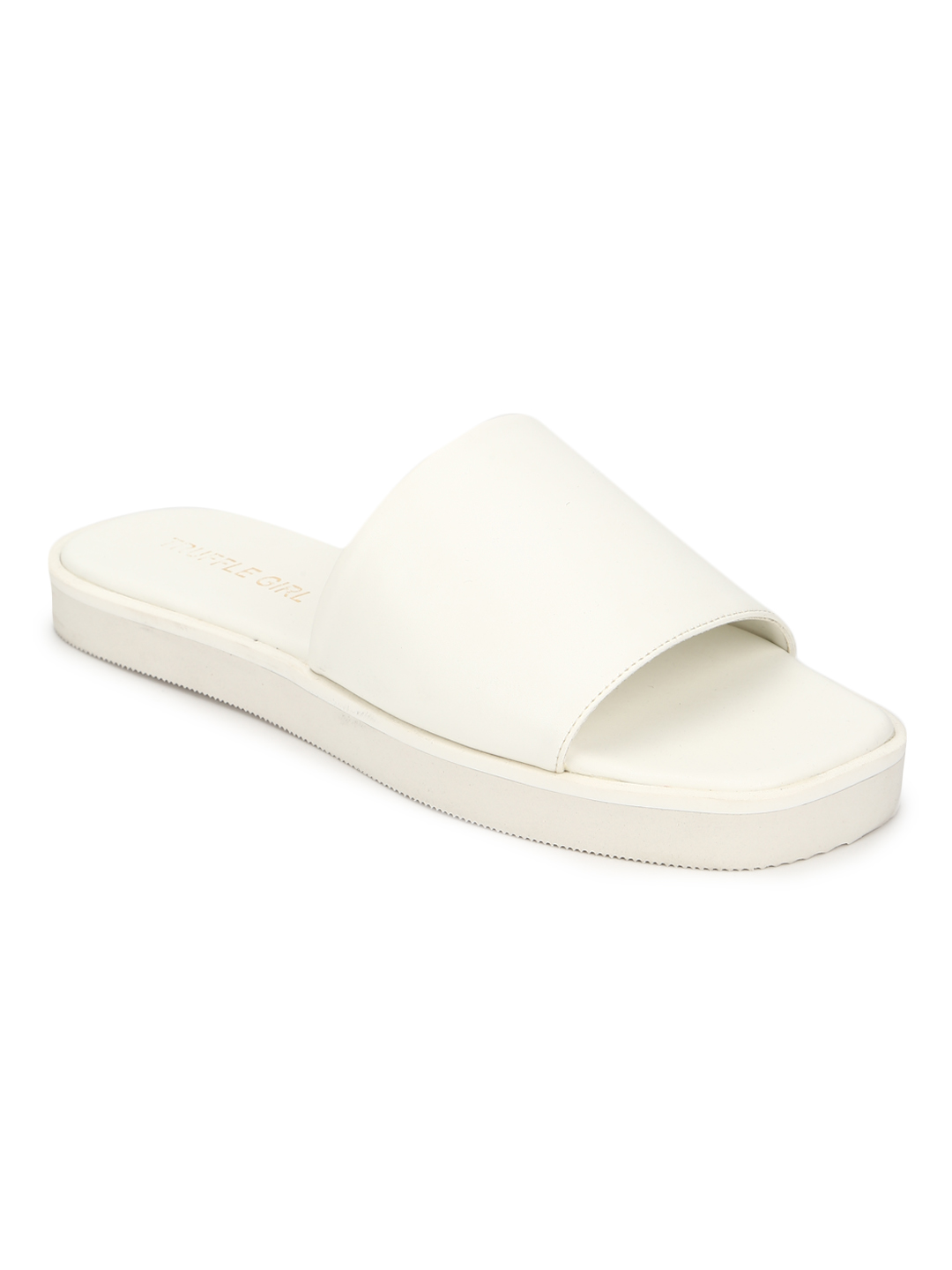 Truffle Collection | Truffle Collection White PU Wide Strap Slides