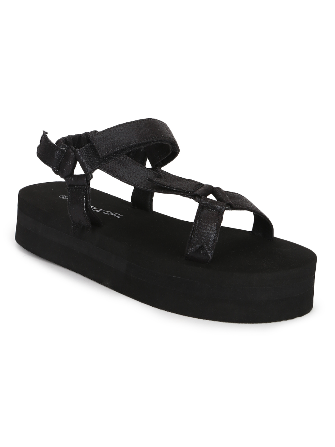Truffle Collection   Truffle Collection Black PU Printed Platform Sandals