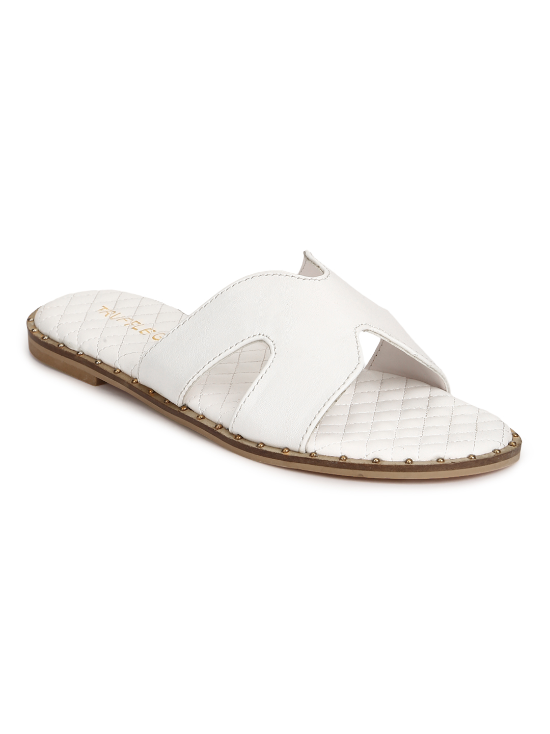 Truffle Collection | Truffle Collection White PU Quilted Slip Ons