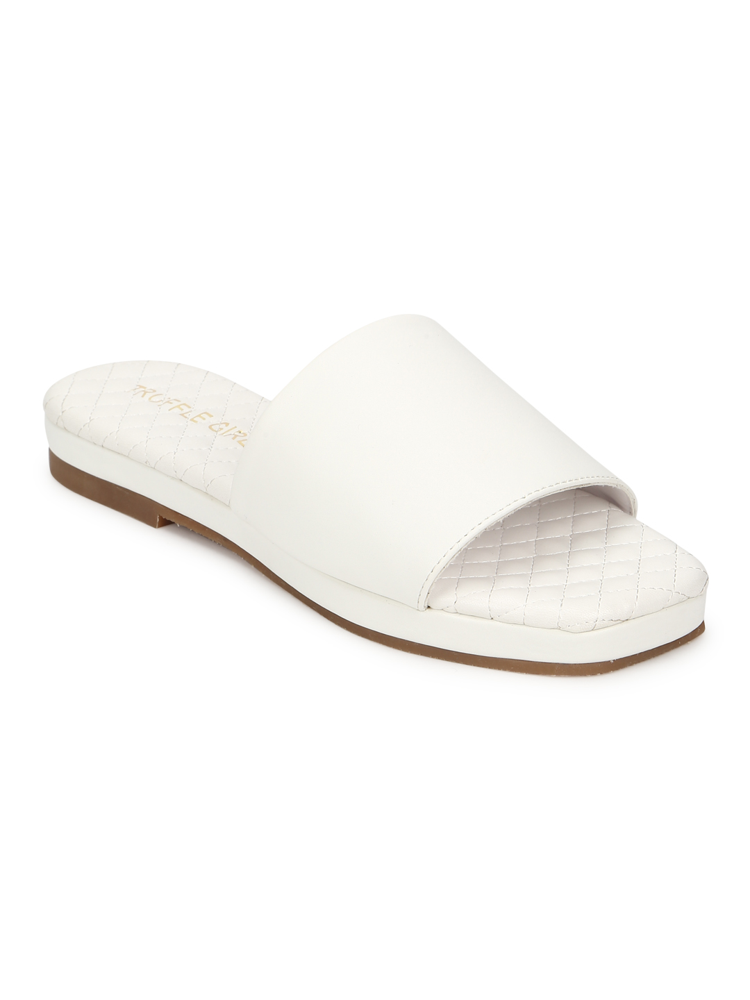 Truffle Collection | Truffle Collection White PU Quilted Sole Slides