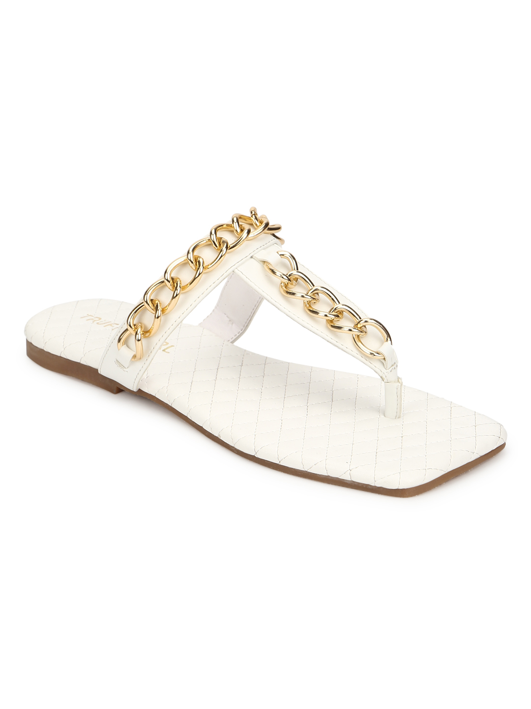 Truffle Collection | Truffle Collection White PU Flip Flops With Gold Chain