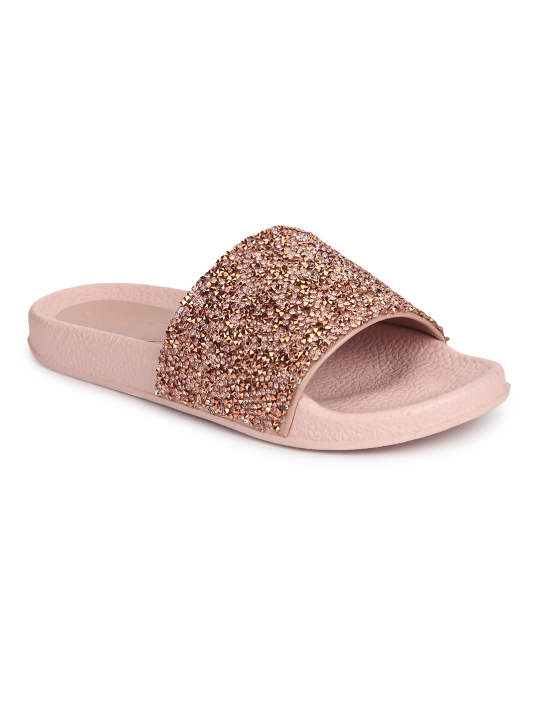 Truffle Collection | Truffle Collection Gold PU Glitter Slides