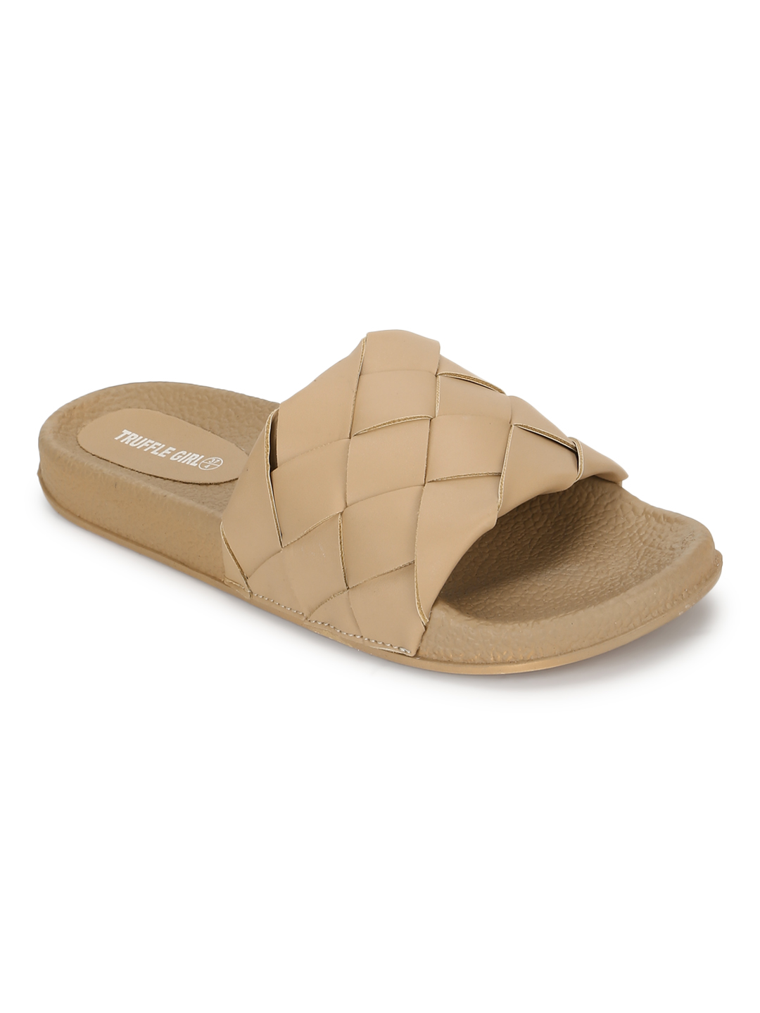 Truffle Collection | Truffle Collection Nude PU Weaved Slides