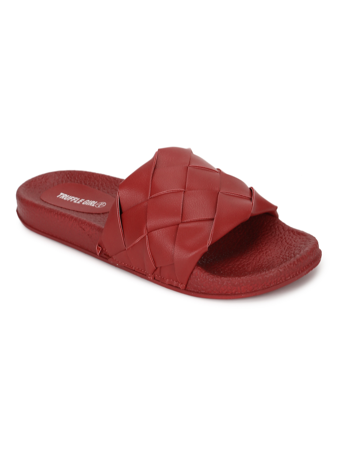 Truffle Collection | Truffle Collection Red PU Weaved Slides