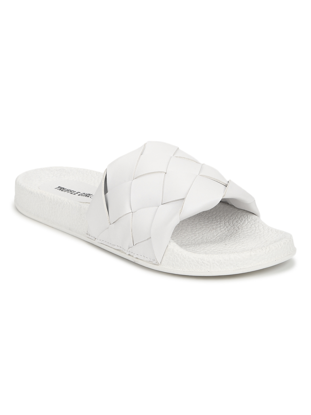 Truffle Collection | Truffle Collection White PU Braided Strap Slides