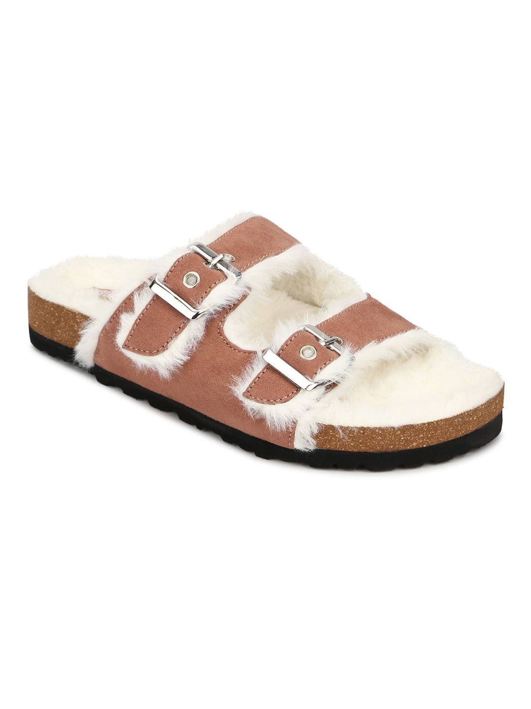 Truffle Collection | Truffle Collection Nude Furry Cork Sandals With Buckle