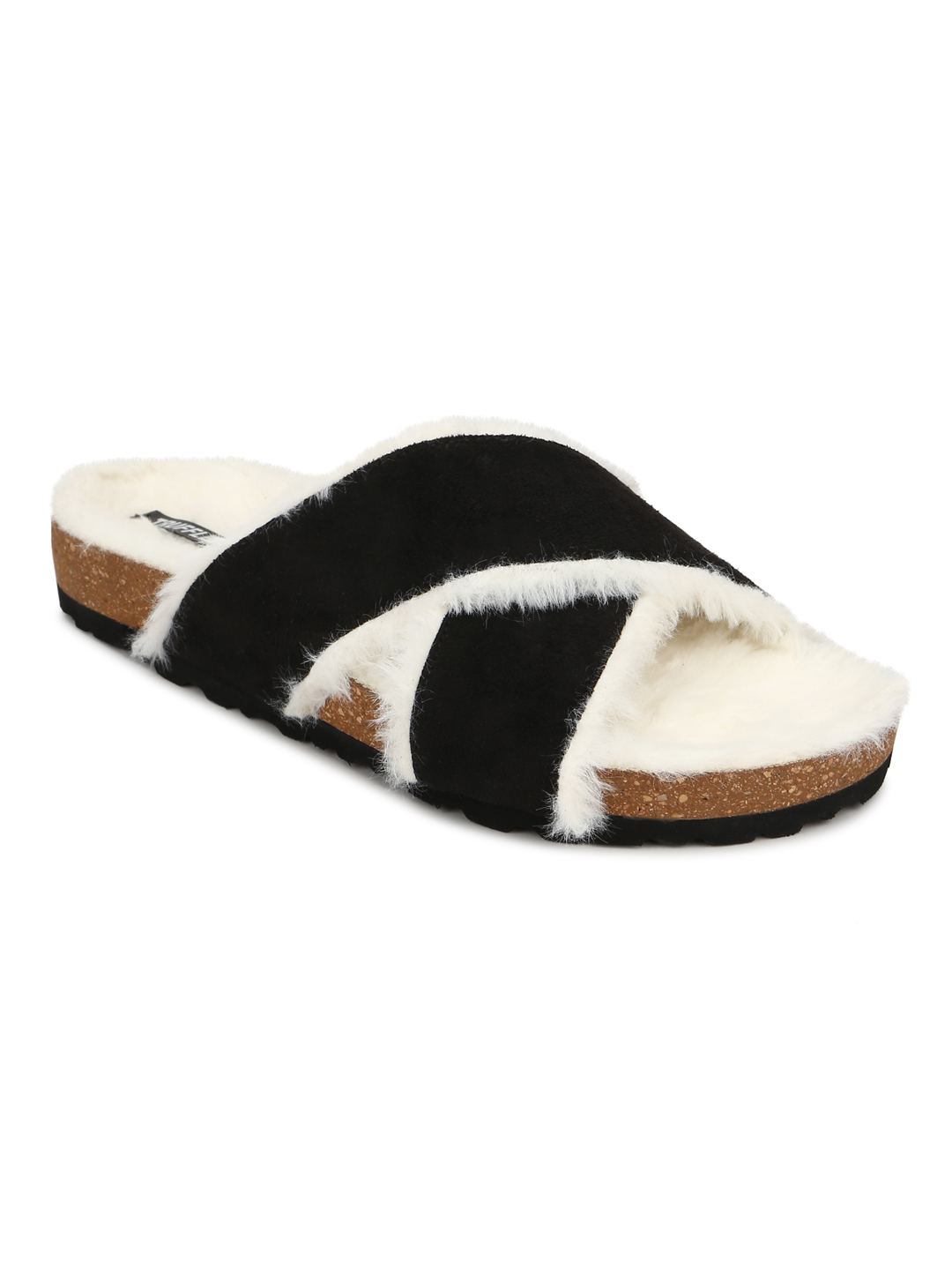 Truffle Collection | Truffle Collection Black Furry Crisscross Strap Cork Sandals