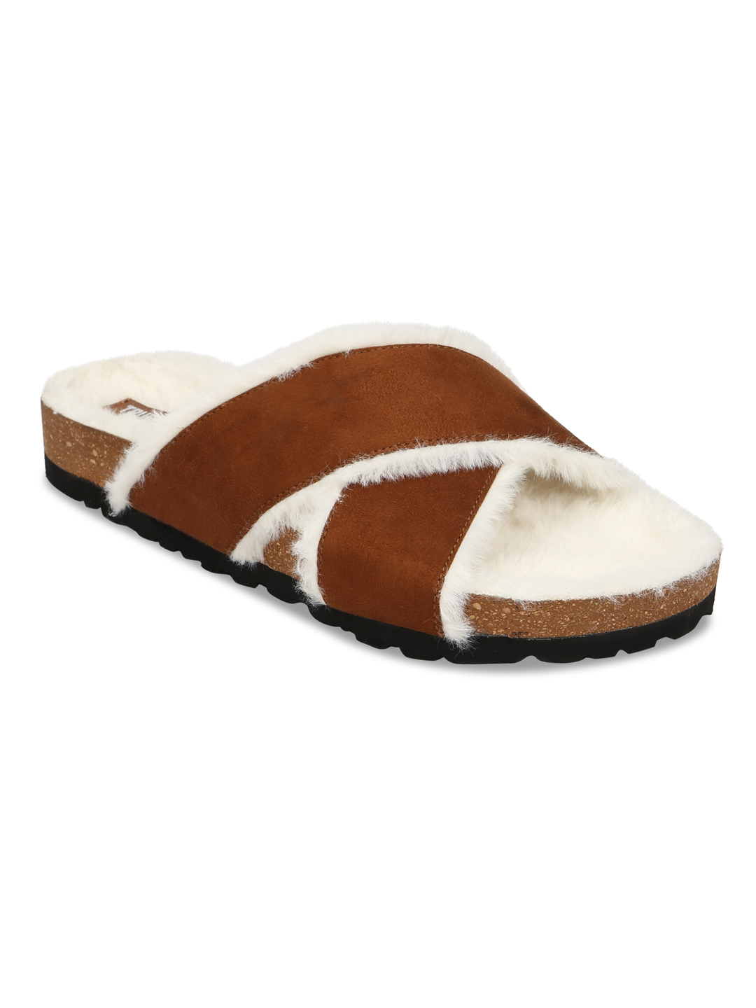 Truffle Collection | Truffle Collection Tan Furry Crisscross Strap Cork Sandals