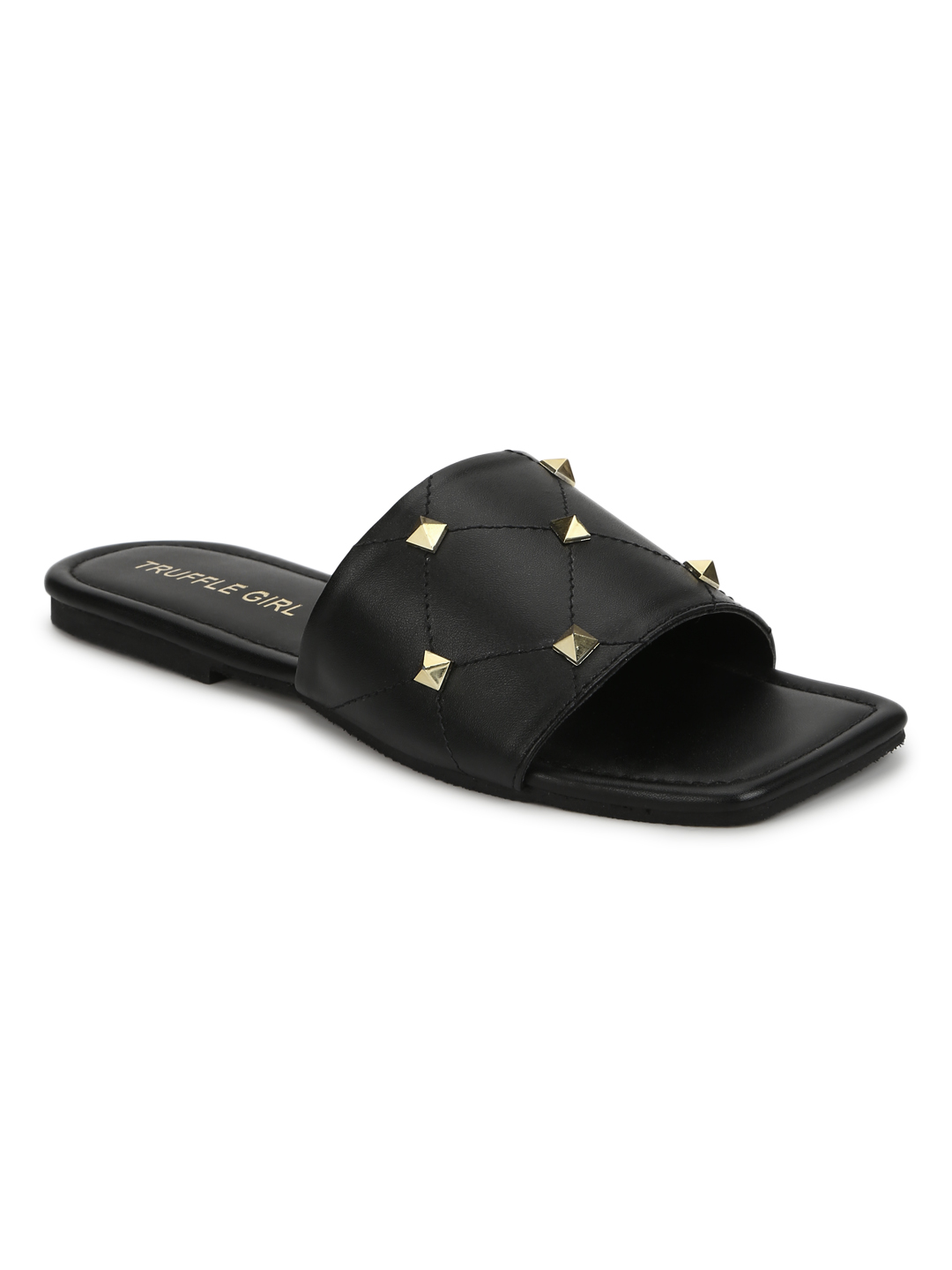 Truffle Collection | Truffle Collection Black PU Studded Slides