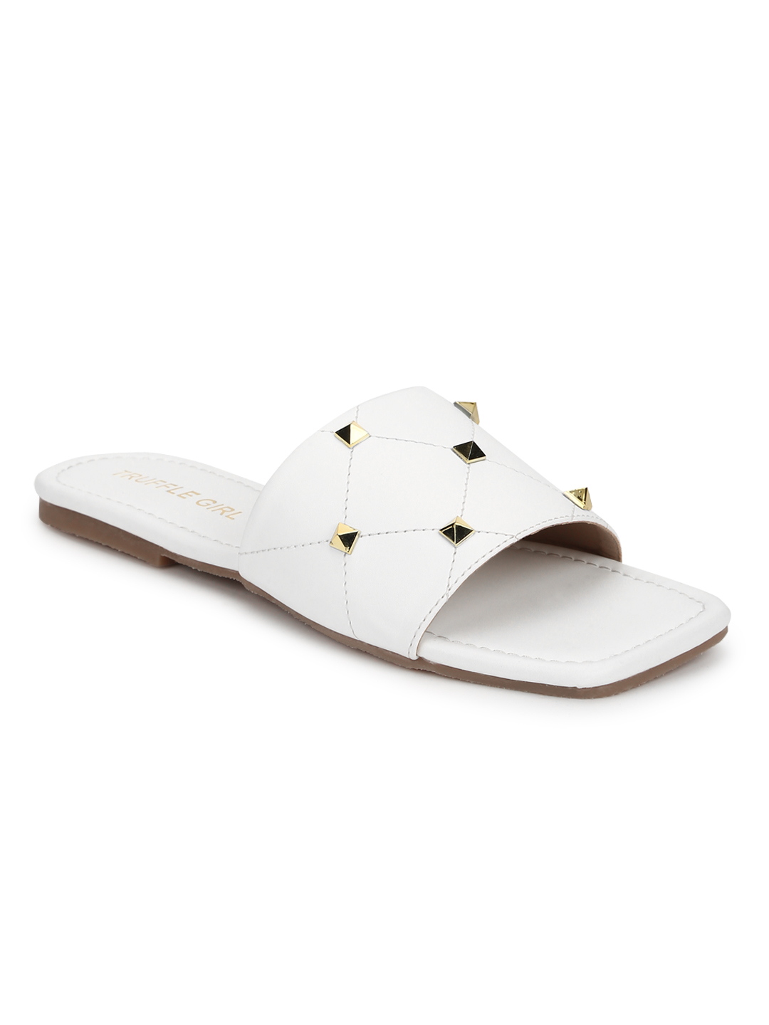 Truffle Collection | Truffle Collection White PU Studded Slides