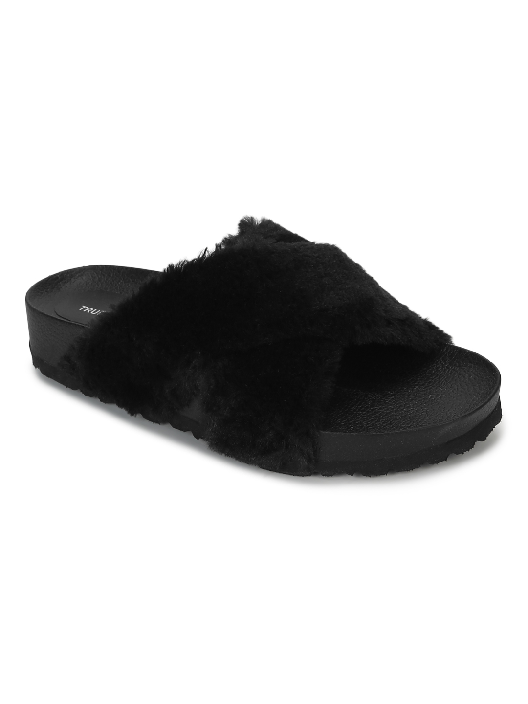 Truffle Collection | Truffle Collection Black Fuzzy Fur Slides