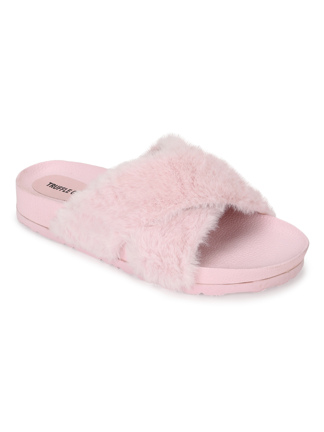 Truffle Collection | Truffle Collection Pink Fuzzy Fur Slides