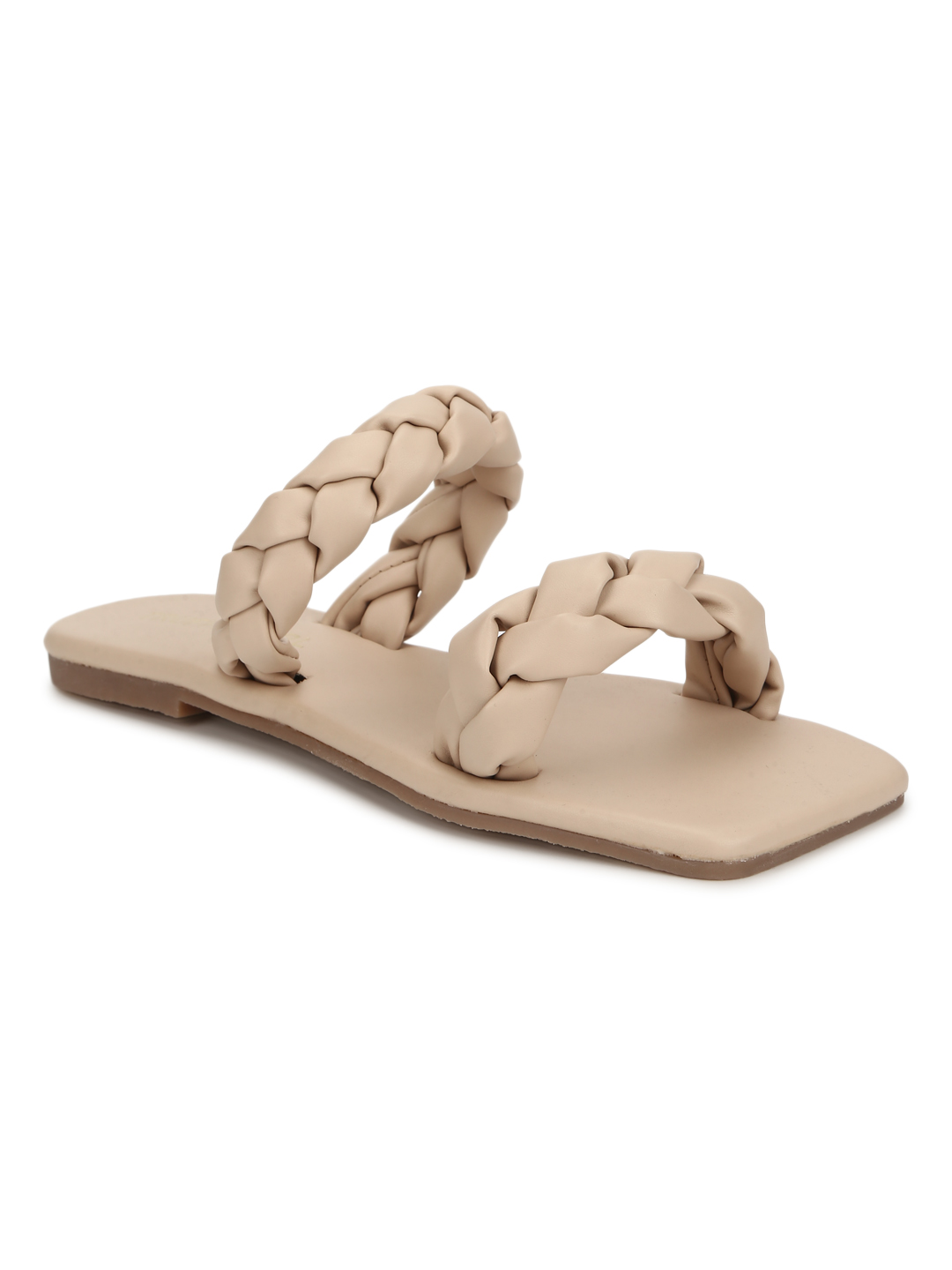 Truffle Collection | Truffle Collection Nude PU Braided Strap Slides